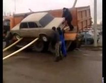 How russians unloading LADA car