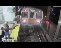 Woman on metro rails - dramatic video