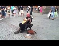 Street Performer in Strasbourg, France, has amazing vocal talent.