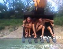 Water Park in Russia with excavator