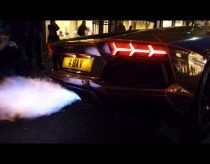 Lamborghini aventador catches fire from exhaust