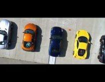 Greičiausios pasaulio mašinos prie drag lenktynių linijos