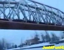 Mass jump from bridge