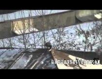 Varna čiuožinėja stogu ant savo snieglentės