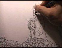 Sudėtingas ir komplikuotas piešinys tušinuku