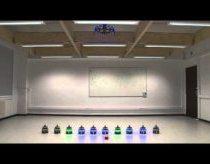 Robotai kurie komunikuoja tarpusavyje skraidančio roboto pagalba