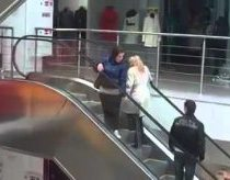 Blonde on an escalator