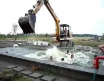 Hungaryian aqua park with excavator