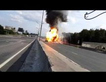 A truck filled with propane cylinders explodes 39 times