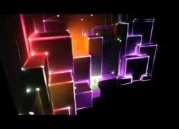 3D projekcija su koordinuota šviesa ant 3D paviršiaus