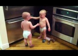 Twin baby boys have intence conversation