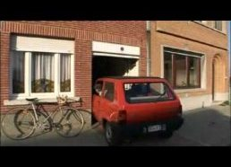 Clever old man manages to park tiny car in a narrow garage