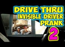 Ghost invisible car seat Prank drive-thru 2013