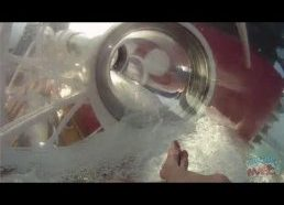 Transparent water slide on cruise ship