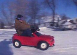 Over Powered Powerwheels Snow Jam Barbie Jeep vs. Corvette vs. F150 vs. Mustang Crazy Drift