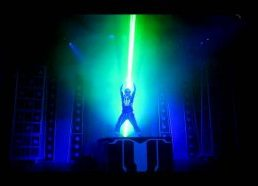 "Laser show in Disney California for ""Tron Legacy"" movie release"