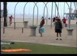 Pokštai paplūdimyje - lesalas žuvėdromis su laisvinamaisiais