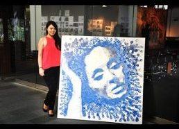Dainininkės ADELE portretas nupieštas iš žvakių vaško (Hong Yi)