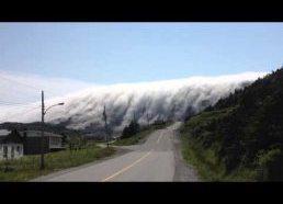 Fog rolling over Long Range Mountains in Lark Harbour Newfoundland