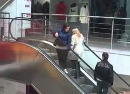 Blonde on an escalator