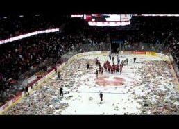 Watch 23096 stuffed animals bombard a hockey rink