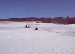 Double Snowmobile Fail