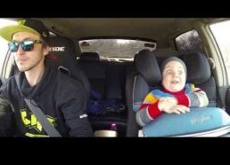 Daddy takes his son to drift car